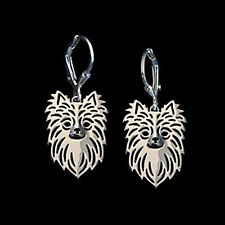 Chihuahua Long Hair Dog Earrings-Fashion Jewellery Silver Plated, Leverback Hook