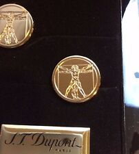 ST DUPONT VITRUVIAN MAN PRESTIGE LIMITED EDITION GOLD CUFFLINKS $165/1490