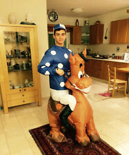 Adult Inflatable Jockey Horse Race Blowup Halloween Costumes Fancy Dress Outfits