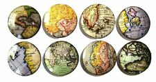 8 Old World Globe Map Vintage Wooden Dresser Bedding Cordinat Drawer Knobs Pulls