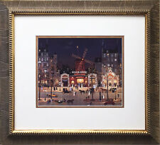 "Michel Delacroix ""Moulin Rouge a La Nuit"" Newly CUSTOM FRAMED Print Lithograph"