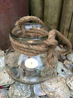Hanging Glass Tea Light Holder Candle Jar Bowl Rope Handle Nautical Decoration