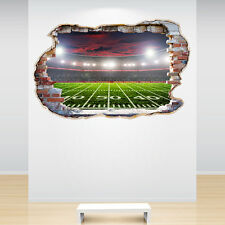 American Football Stadium Smashed Wall Sticker 3D Decal Boys Bedroom Decor