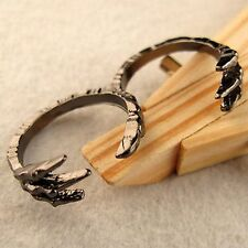 Punk goth biker gothic black claw double finger ring