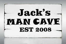 PA9 Man Cave Plaque Personalised Shabby Vintage Chic Sweet Table Sign Standing