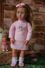 Puppenkleidung rosa Kleid  46 cm Weichkörper-Stehpuppe