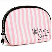 NWT VICTORIA'S SECRET SIGNATURE SMALL BAG PINK STRIPE COSMETICS MAKEUP POUCH