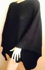 LADIES PLUS SIZE CARDIGAN CHUNKY BLACK CABLE KNITTED PONCHO CAPE TOP UK 18 20 22