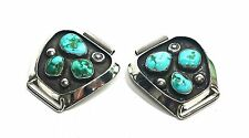 Turquoise Silver Watch Tips Ends 16.5mm Three Stone Mens Sterling GV100925