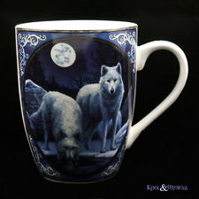 "Lisa Parker Bone China Mug Cup: ""Winter Warrior"" Wolves Wolf"