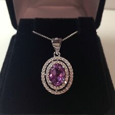 BEAUTIFUL 3ct Alexandrite & White Sapphire Sterling Silver Necklace NWT 18""