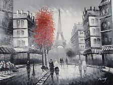 Noir blanc paris rouge grande peinture à l'huile sur toile france original french cityscape