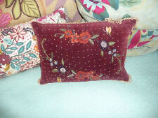 Anthropologie throw pillow embroidered beaded red velvet accent home decor
