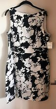 NWT Chaps black and white floral sheath dress Size 16