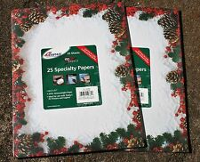 STATIONERY COMPUTER PAPER & ENVELOPES red berries pinecones lace - NEW
