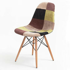 Stylish Mid Century Eames Style Dining Side Chairs Fabric with Wood Legs