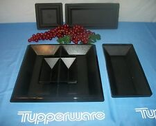 Tupperware elegant 5 pc Get Togethers Buffet Set ~BLACK Tray acrylic servers