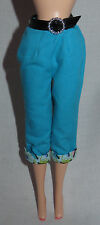 * BOTTOM ~ BARBIE DOLL COOL COLLECTING BLUE ROLLED PRINT CUFFED CAPRIS CLOTHING