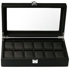 Mantello Black Carbon Fiber 12-Watch Box Showcase Jewelry Case Organizer (New...