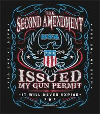 2ND AMENDMENT ISSUED GUN PERMIT NEVER EXPIRES SECURITY XXLG TEE SHIRT TS303