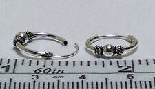 12 mm diameter x 1.2mm thick Real Sterling Silver Bali Ball Design Hoop Earrings