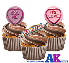 Love Hearts Kiss Me It's Love Fun Sweeties Mix 12 Edible Wafer Cup cake Toppers