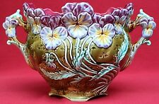 RARE AUTHENTIC ANTIQUE FRENCH ONNAING MAJOLICA PANSIES CACHE POT C 1880