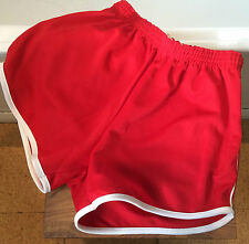 "vintage 1970's red/ white nylon/poly running shorts 30"" waist -very short."