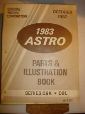 83 CHEVROLET ASTRO PARTS NUMBER ILLUSTRATION BOOK FACTORY SERVICE REPAIR MANUAL