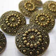 10 Ornate Brass Flower Buttons