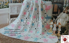 Crochet Pattern CUTE BABY AFGHAN NURSERY BLANKET with PAPER DOLLS APPLIQUES PDF