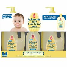 Set of 3 Johnson's Baby Head-to-Toe Wash Two-33.8 FL OZ. One-9 FL OZ. NEW