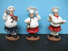 Set of 3 FAT Chef figurine BISTRO cooking hand painted.