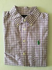 NWT Boy's Polo Ralph Lauren LS Dress Shirt Purple White - Medium (10-12)