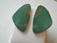 Vintage Sterling Silver Inlaid Green Turquoise Earrings signed NG   302382