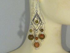 Gemstone Earrings - Unakite & 925 Sterling Silver- Green/Coral- long chandeliers