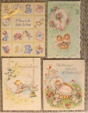 lot 4 vintage greeting cards: baby & bunny rabbits, babies in hot air balloon