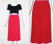Vintage 80's Plain Dark Pink HIGH ELASTICATED WAIST PLEATED MIDI Skirt 12 14 16