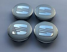 SET OF 4 SEAT ALLOY WHEEL BADGES CENTER HUB CAPS 63mm SILVER CHROME RED LOGO