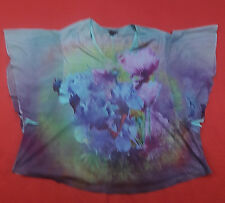 Westbound Womens Plus Size 3X Top Embellished Floral Tunic Sheer Slv Purple Teal