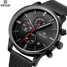 MEGIR men's quartz-watch stainless steel mesh band watch Chronograph 3 colors