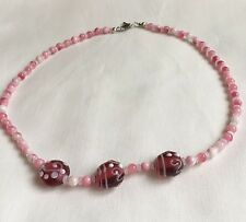 Pink white lampwork swirly glass bead necklace 20in green gift