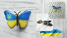 Ukrainian National Country Flag Lapel Pin Butterfly Metal Tryzub Coat of Arms