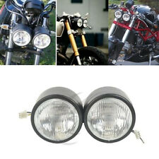 Twin Round Black Dominator Motorcycle Headlight For Streetfighter Cafe Racer New