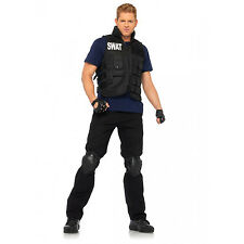 SWAT Commander Vest Shirt Knee Pads Gloves 4 Pc Halloween Costume Cosplay Mens