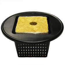 "Square Mesh Pot Lids 6"" + Rockwool Cube 6"" -  fits any 5 gallon bucket"