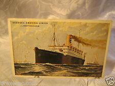 Ship Brevkort Svenska Amerika Linien Drottningholm Passenger Vintage Postcard