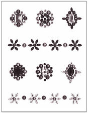 ci BLACK GEM MINI STICKERS scrapbooking RHINESTONES FAUX PEARLS