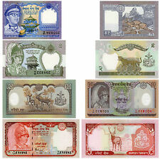 Nepal Banknotes Set of 4 1 to 20 Rupees Gianendra Birendra UNC