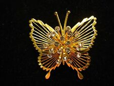 Vintage Signed MONET Wire Wing Clear Rhinestone Butterfly Insect Brooch Pin